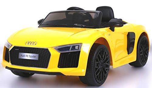 RIRICAR Audi R8 Spyder Nuovo Macchina Elettrica per Bambini, Giallo, Originale Licenza, Batteria, Porte di Apertura, Sedile in Pelle, 2X Motore, Batteria da 12 V, Telecomando da 2,4 GHz,