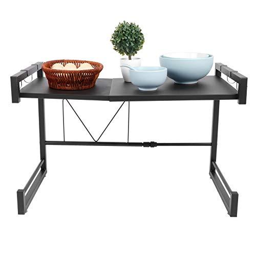 AYNEFY Estantería de cocina, soporte para microondas, con ganchos, color negro