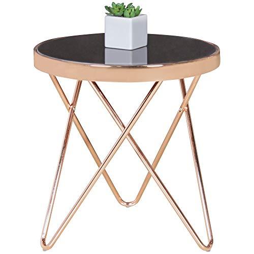 FineBuy Design Couchtisch Round Mini ø 42 cm Rund Glas Kupfer | Lounge Beistelltisch verspiegelt | Moderner Wohnzimmertisch | Glastisch Sofatisch Tisch für Wohnzimmer