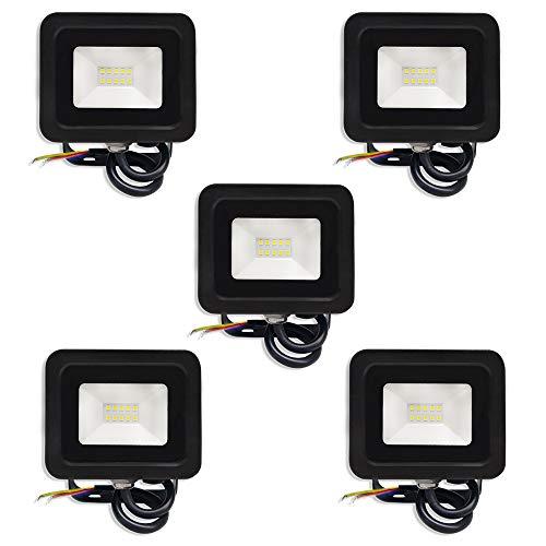 AUFUN 5 x 10W LED Strahler Kaltweiß Superhell LED Fluter Außenstrahler IP65 wasserdicht Aluminium Scheinwerfer Licht für Garten, Garage, Hof oder Hote