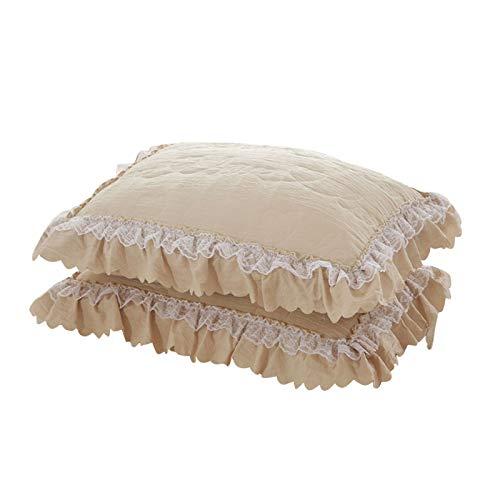 Myonly, copriletto tinta unita con volant, in pizzo, per letto king size, 150 cm x 200 cm, 2 federe, Cotone, D, 2Pcs pillowcase