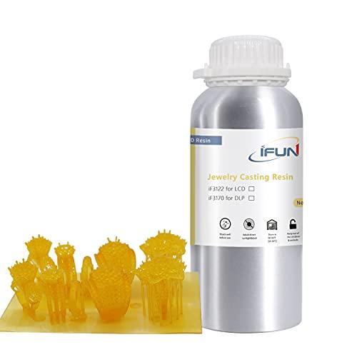 IFUN Resina de fundición de joyería para impresora LCD 3D cera perdida fundición UV resina 405nm fotosensible líquido