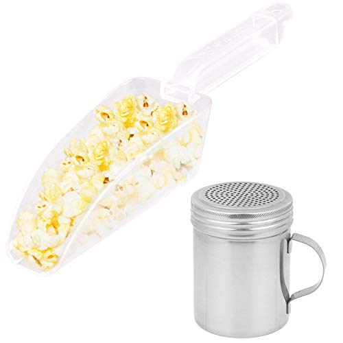 Popcorn Plastic Scoop and Dredge Bundle - Popcorn Scooper - w/ 2 CUSINIUM Coasters and Cool Ebook