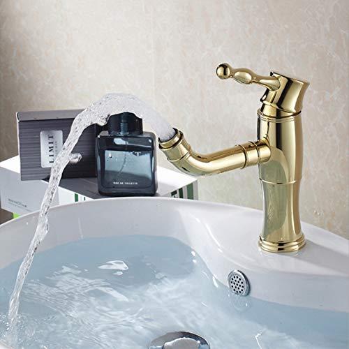 YHSGY Waschtischarmaturen Gold Waschtischarmaturen Wasserfall Bad Wasserhahn Einhebelmischer Mischbatterie Bad Wasserhahn Messing Waschbecken Wasser Kranhahn
