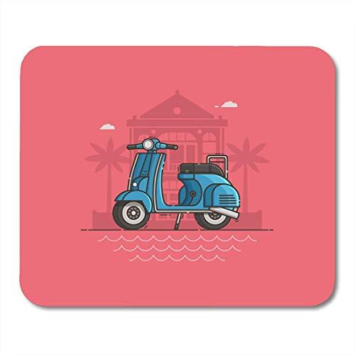 Mauspads Blue Scooter geparkt in der Nähe von Villa und Sea Beach Motorrad auf der Straße Motorrad stehend Tropical Seaside Mouse Pad für Notebooks, Desktop-Computer Büromaterial
