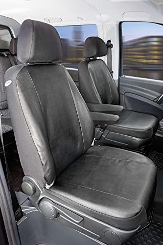 Walser 11505 Autoschonbezug Transporter Passform, Kunstleder Sitzbezug anthrazit kompatibel mit Mercedes-Benz Viano/Vito, 2 Einzelsitze Armlehne innen