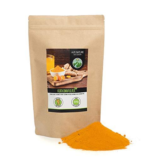 Polvo de cúrcuma (500g), cúrcuma 100% natural, raíz de cúrcuma suavemente secada y molida, por supuesto sin aditivos, vegana