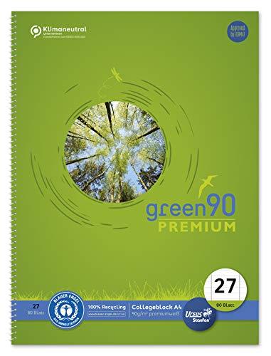 Staufen 40835027 Collegeblock Green - Cuaderno (DIN A4, lineado 27, 80 hojas, 4 orificios, 90 g/m², papel reciclado, 1 unidad)