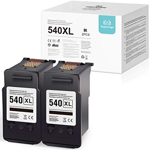 Superpage 540XL Kompatible für Canon PG-540XL 541XL Wiederaufbereitet Tintenpatronen für Canon Pixma MG2150 MG2250 MG3150 MG3250 MG3550 MG4150 MG4250 MX375 MX395 MX435 MX455 MX515 MX525,2Schwarz