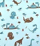 Loopomio Jersey Stoffe Dinos Dinosaurier Steinzeit hellblau