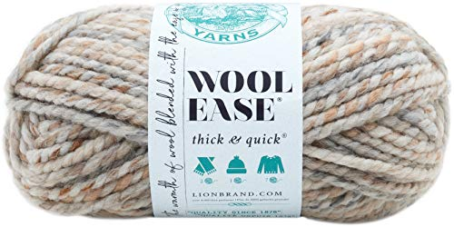 Lion Brand Yarn 640-536 Wool-Ease Thick & Quick Yarn, Fossil