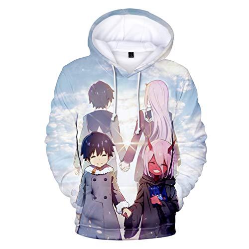 Cosstars Darling in The Franxx Anime Hoodie Kapuzenpullover Unisex Cosplay 3D Druck Sweatshirts 5 L