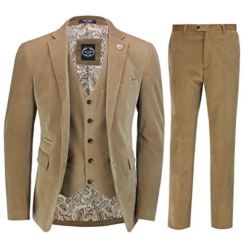 Xposed Herren Cord 3 Stück Anzug Tan Klassische Vintage Stil Maßgeschneidert Jacke Weste Hose[SUIT-2020-19-TAN-40]