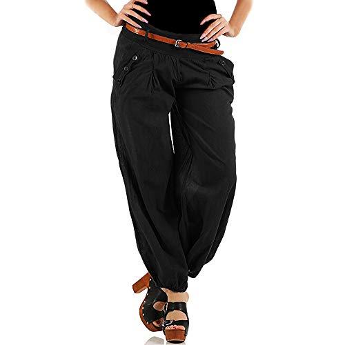 Litthing Pantalones Anchos de la Pierna Suelto Pantalon Harén Harem Casual Wide Leg Holgados Bloomers Moda para Mujer (Negro (Versión Mejorada), L)