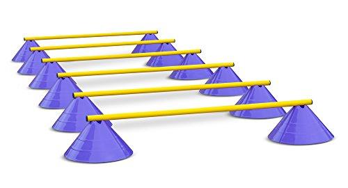 Hürden für Koordinationstraining - Hütchen und Stangen - 100 cm - Lila-Gelb
