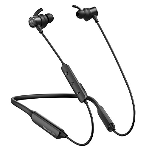 SoundPEATS Force Bluetooth Headphones Wireless Neckband Headset Stereo in-Ear Magnetic Earbuds Workout (16 Hours Playtime, Built-in Mic, CVC 6.0 Noise Cancelling) (Black)