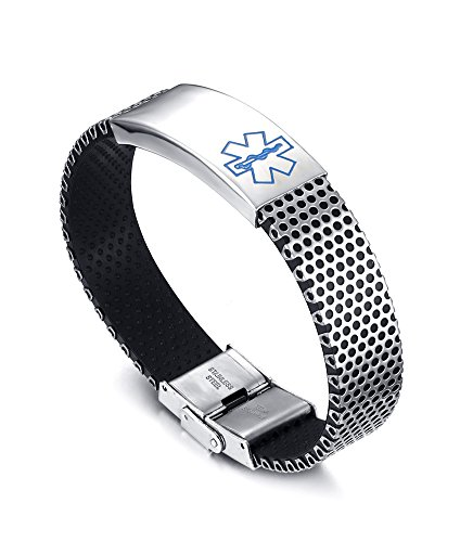 VNOX Stainless Steel Silicone Blue Medical Alert ID Bracelet Free Engraving Diabetes,Cancer Etc.