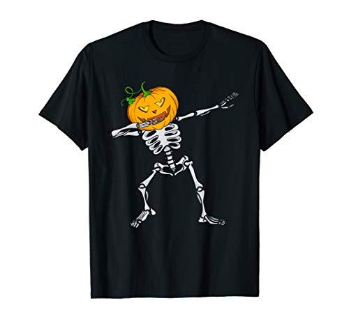 Dabbing Skeleton Pumpkin Jack O Lantern Halloween Boys Gift T-Shirt