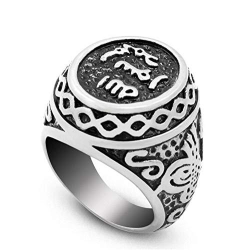PAMTIER Edelstahl Jahrgang Unterzeichnen Muslim Islamisch Arabisch Shahada Ring Silber Größe 57 (18.1)