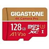 Gigastone Carte Mémoire 128 Go 4K Caméra Pro Série, Compitable avec Nintendo Switch GoPro, Vitesse de Lecture allant jusqu'à 100 Mo/s. pour 4K UHD Vidéo, A1 U3 V30 Carte Micro SDXC avec Adaptateur SD.