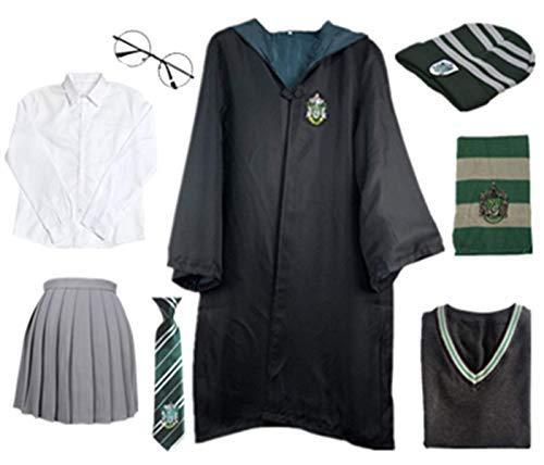 O.AMBW Niños Adultos Disfraz de Capa para Harry Potter, Traje de fantasía Traje de Cosplay Conjunto Varita mágica Corbata Bufanda Gafas Sombrero Camisa Falda Carnaval Disfraz Carnaval Halloween