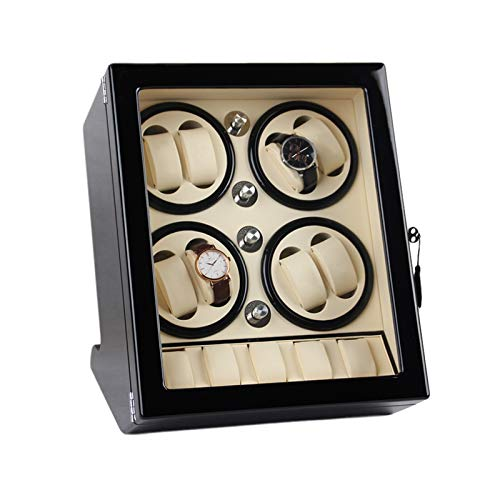 AYYEBO Mira La Cuerda para 8 Relojes Automáticos con 5 Espacios Almacenamiento Pantalla Exterior Pintura Piano Concha Madera Motor Silencioso (Color : White)