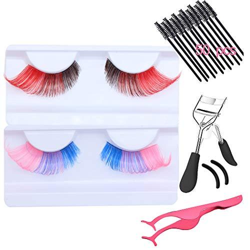 SIPLIV 3D Handmade Colorful False Eyelashes Stage Art Latin Dance Lashes Reusable Eyelash Set with Eyelash Curler Tweezers 50 pcs Eyelash Brush - 2 Pairs