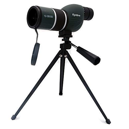 NUZAMAS 12-36X50 Spektiv-Teleskop und Stativ-Set - Wasserdichtes Zoom-Einrohr-Teleskop-Monokular für Vogelbeobachtung, Reisen, Jagd, Angeln, Fußballspiele, Outdoor-Konzerte