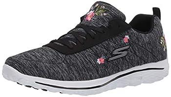 Skechers Women s Go Walk Sport Relaxed Fit Golf Shoe Black/White Bloom 7.5