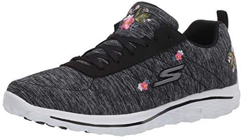 Skechers Women's Go Walk Sport Relaxed Fit Golf Shoe, Black/White Bloom, 6.5