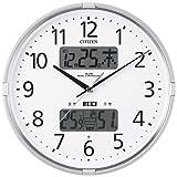 CITIZEN シチズン 掛け時計 電波時計 温度計・湿度計付き 警告音 インフォームナビF シルバー 4FY618-019