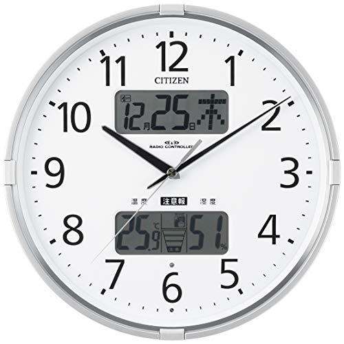 リズム CITIZEN シチズン 掛け時計 電波時計 温度計・湿度計付き 警告音 インフォームナビF シルバー 4FY618-019 ф27.5×5.0cm
