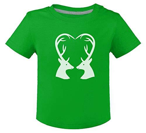 Green Turtle Camiseta para niños - Ropa Navidad Bebe - Ciervos Navideños 18M Verde
