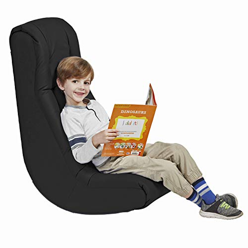Soft Floor Rocker - Cushioned Ground Chair for Kids Teens and Adults - Great for Reading, Gaming, Meditating, TV - Black