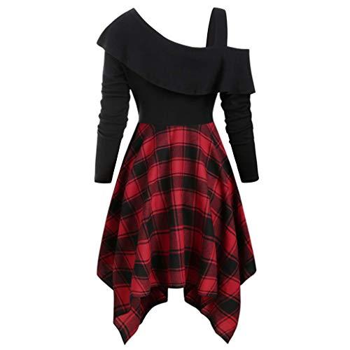 Gothic Kleidung Damen,Frau Übergröße Plaid Skew Neck Belted Taschentuch Kleid Damen Mittelalter Kleid Mittelalterlichen Vintage Gothic Gericht Kleid