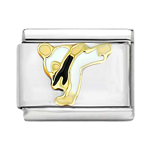 AKKi jewelry Italian Charms Armband Classic glieder Italy Charm,Silber Gold Edelstahl Links Kult modele Blume Tiere Herz für Karate Kung Fu Sport
