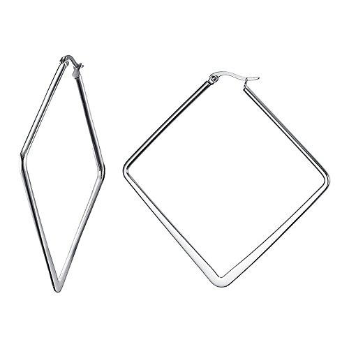 GUMONI Ohrschmuck Damen Große Ohrringe 1 Paar Edelstahl Rhombus Creolen Silber 6,8 * 6,8 cm