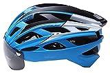 TYUIOO Casco de Moto Casco Completo Casco de Bicicleta de Montaña, Ajustable para Hombres Mujeres Detachable, Visor de Gafas de Gafas Magnéticas Protectivas UV, 56-62cm (Color : D, Size : 56-62cm)
