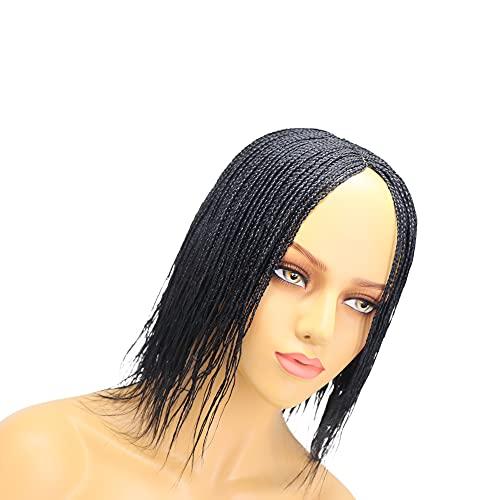 Pelucas trenzadas cortas micro trenzas clásico Cap Cornrow trenzado pelo negro caja trenzada peluca
