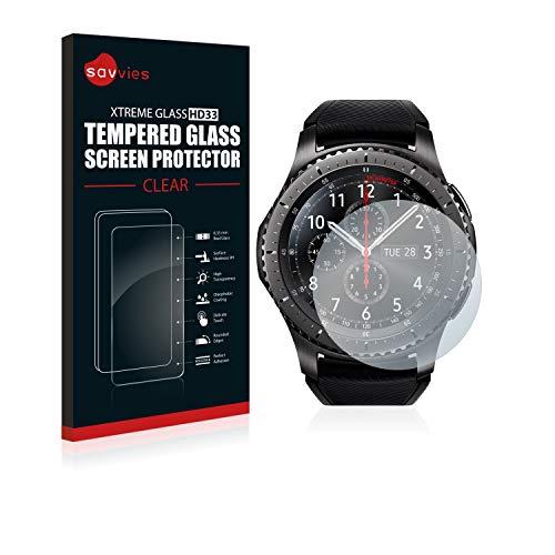 Savvies Panzerglas kompatibel mit Samsung Gear S3 Frontier / S3 Classic - Echt-Glas, 9H Härte, Anti-Fingerprint