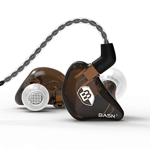 BASN Bsinger In Ear Monitor Headphones, Dual Dynamic Drivers Noise Cancelling Earphones with Removable MMCX Cable IEMs for Musicians Drummer (BC100 Brown)
