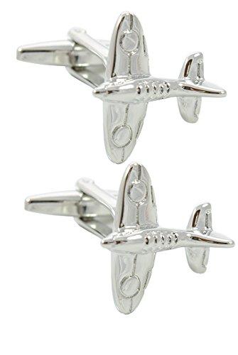 COLLAR AND CUFFS LONDON - Boutons de Manchette avec Boite-Cadeau - Grand Qualité - Avion de Spitfire Iconique - Laiton - Couleur Argent - Aviation