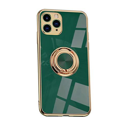 Funda compatible con iPhone 12 Pro Max funda ultra fina galvanizada brillante de silicona TPU suave con anillo giratorio 360° con imán en la funda para iPhone 12 Pro Max (A)