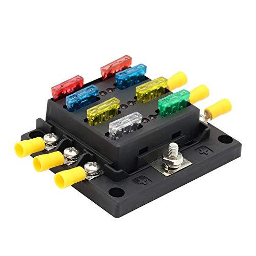 Sicherungsblock, Zubehör für Autoreparaturen Sicherungskastenhalter für Kraftfahrzeuge 30A pro Stromkreis mit LED-Warnanzeige Dauerhafte Schutzabdeckung