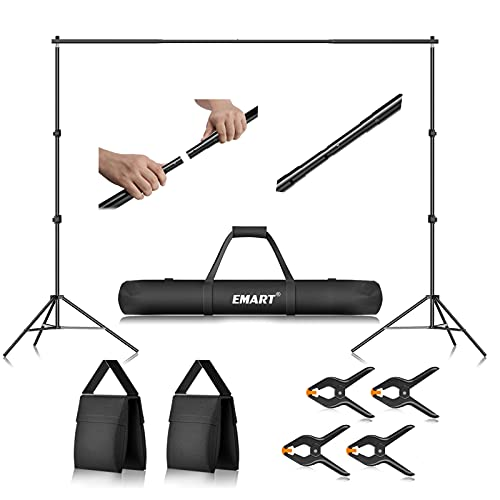 Emart Photo Video Studio 10Ft Adjustable Background Stand Backdrop Support System Kit with Carry Bag