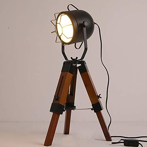 Lámpara de mesa de madera retro con trípode retráctil industrial lámpara de escritorio lámpara de pie lámpara de pie creativa iluminación E27
