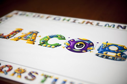 Placemat for Kids - You choose the name and letter styles - Our Kids Placemats are Handmade in the USA. The perfect gift for a 2 year old boy, gift for a 3 year old boy or a gift for a 4 year old boy!