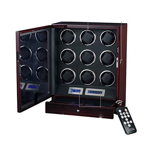 GUOSJ Holz Uhrenbeweger zum Aufziehen 9 Automatikuhren mit LCD-Touchscreen-Display und eingebauter LED-Beleuchtung, Fernbedienung erhältlich