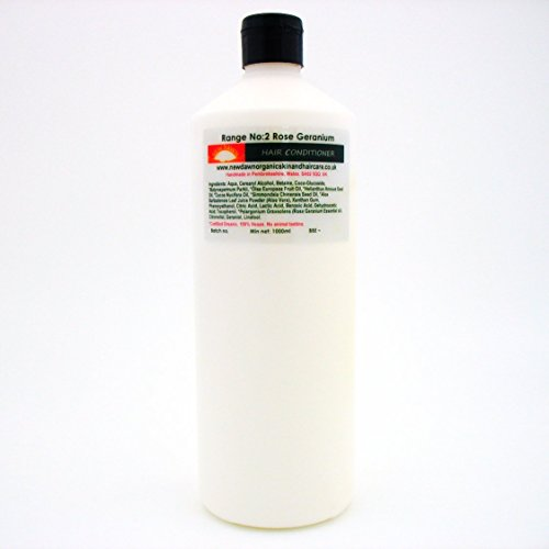 New Dawn Après-shampooing Géranium Rose Origine Naturelle - 73% Bio   Végétalien - Gamme N° 2 - Tailles 25 ml/100 ml/250 ml/1 L