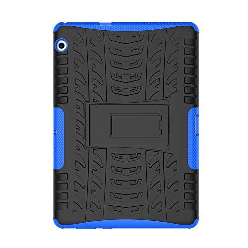 Huawei MediaPad T3 10 Hülle, Armor Style Hybrid PC + TPU Silikon Hülle Mit Stand Schutzhülle für Huawei MediaPad T3 10 (9,6 Zoll) Tablet Case Cover Tasche - Dunkelblau